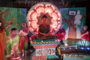 Vesak pandal showing Birth, Enlightenment & Parinirvaana