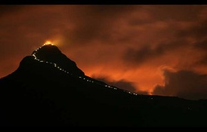 The sacred mountain of Adam's Peak illuminated by light bulbs