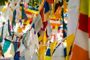 Colorful Buddhist flags hung on the sacred Bodhi tree