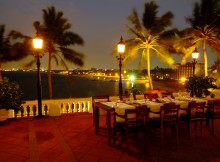 The breathtaking view from the terrace of Mount Lavinia Hotel, from where we watched New Year's fireworks.