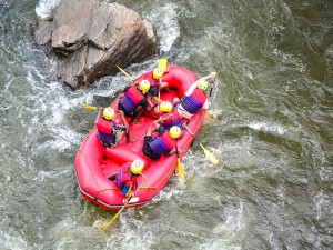 Whitewater rafting on river Kelani. This isn't us, but a group we saw from the banks.