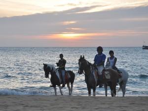 Riding on the Kalpitiya beach.
